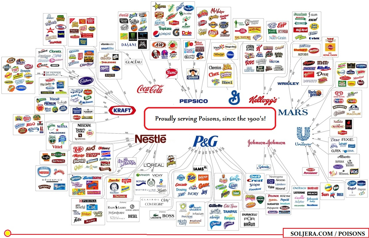 "This image maps the main food producers & suppliers of the world, the product base is focussed on ""foods"" which are addictive, rather than nutritious, to keep the wheel turning as so to speak…"